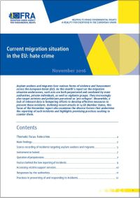 "<h4>Relatório FRA: ""Current Migration Situation in the EU: Hate crime""</h4>"
