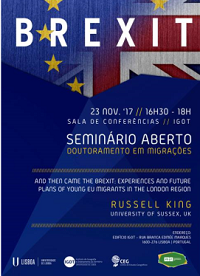 "<h4>Seminário de Doutoramento em Migrações: ""And then came the brexit: experiences and future plans of young EU migrants in the london region""</h4>"