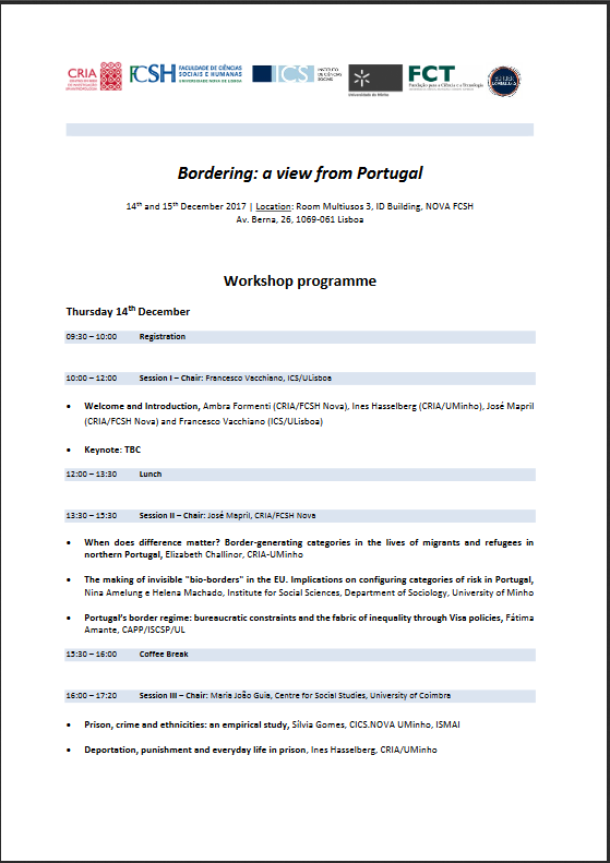 "<h4>Workshop internacional: ""Bordering: a view from Portugal""</h4>"