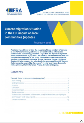 "<h4>Relatório FRA: ""Current migration situation in the EU: impact on local communities (update)""</h4>"