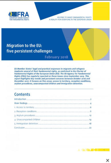 "<h4>Relatório FRA: ""Migration to the UE: five persistent challenges""</h4>"