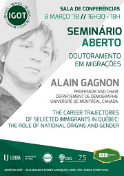 "<h4>Seminário aberto: ""The career trajectories of selected immigrants in Qúebec: the role of national origins and gender""</h4>"