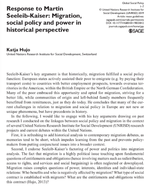 """Response to Martin Seeleib-Kaiser: migration, social policy and power in historical perspective"", Global Social Policy (2019)"